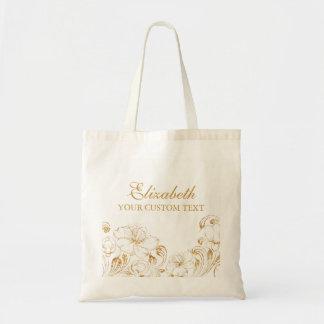 Bridesmaid Thank You Wedding Elegant Gold Floral Tote Bag