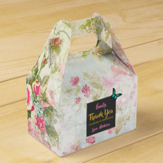 Bridesmaid Thanks w/ Butterfly on Vintage Collage Favor Box