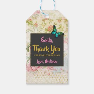 Bridesmaid Thanks w/ Butterfly on Vintage Collage Gift Tags