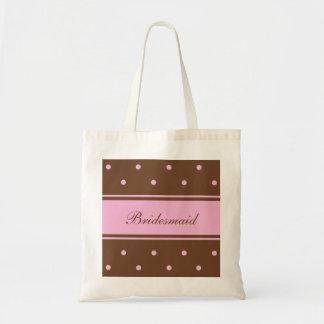 Bridesmaid Tote Bag -- Pink Polka Dots on Brown
