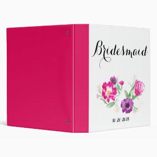 Bridesmaid Watercolor Flowers Binder