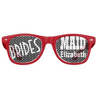 Bridesmaid Wedding Favor Black White Red Name A02A Retro Sunglasses