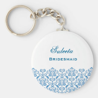 Bridesmaid Wedding Favor Blue Damask Lace B039 Basic Round Button Keychain