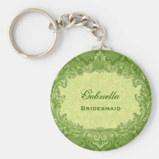 Bridesmaid Wedding Favor Lime Green Damask G306 Keychain