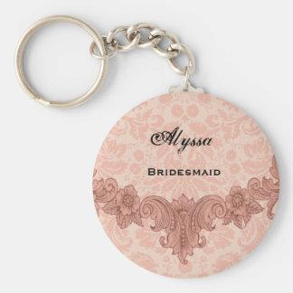 Bridesmaid Wedding Favor  Peach Vintage B029 Basic Round Button Keychain
