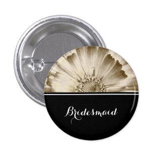 Bridesmaid Wedding Gold Daisy 1 Inch Round Button