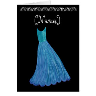 Bridesmaid Wedding Invitation AZURE BLUE Dress