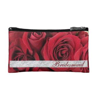 Bridesmaid Wedding Red Roses Cosmetic Bag