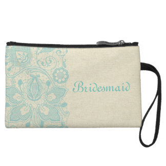 Bridesmaid Wedding Wristlet Turquoise Teal Lace