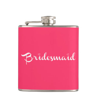 Bridesmaid White On Hot Pink Hip Flask