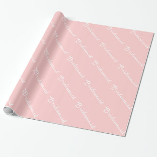 Bridesmaid White On Pink Wrapping Paper