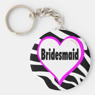 Bridesmaid Zebra Stripes Keychain