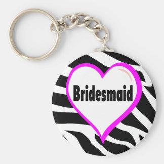 Bridesmaid (Zebra Stripes) Keychain