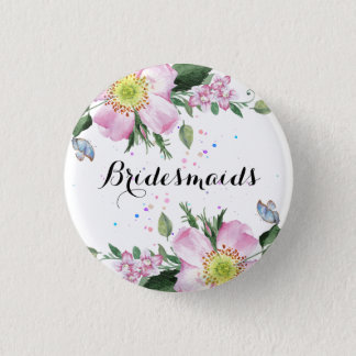 BridesMaids Colorful Flowers White Background 1 Inch Round Button