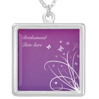 Bridesmaids Necklace - Purple butterfly sw