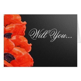 Bridesman Orange Poppy Custom Wedding Party Cards