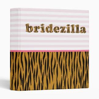 Bridezilla | Pink Stripes & Tigerprint 3 Ring Binders