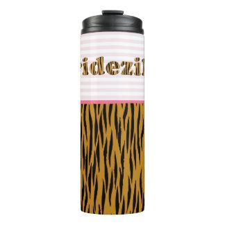 Bridezilla | Pink Stripes & Tigerprint Thermal Tumbler