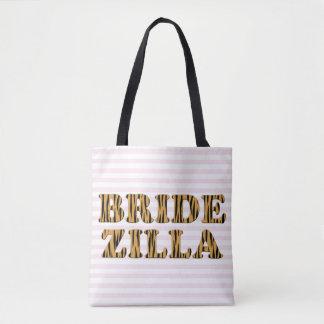 Bridezilla | Pink Stripes & Tigerprint Tote Bag