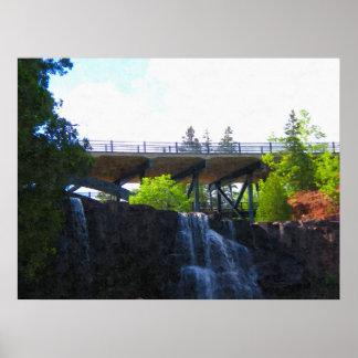 Bridge above Gooseberry Falls-Painting Print