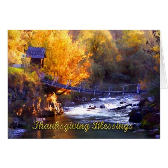 Bridge Across the Stream Thanksgiving Blessings Card