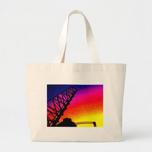 Bridge against Rainbow Sunset Tote Bags