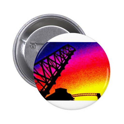 Bridge against Rainbow Sunset Pinback Buttons