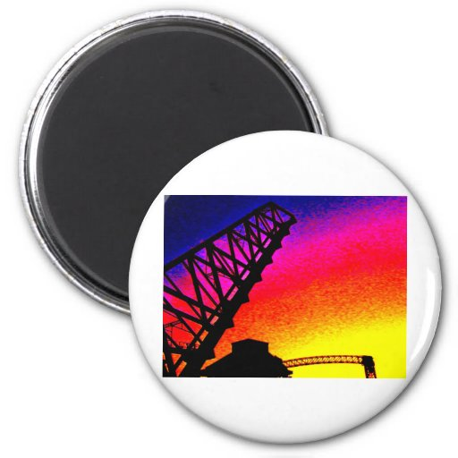 Bridge against Rainbow Sunset Fridge Magnet