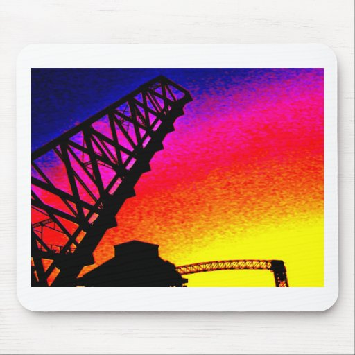 Bridge against Rainbow Sunset Mousepads