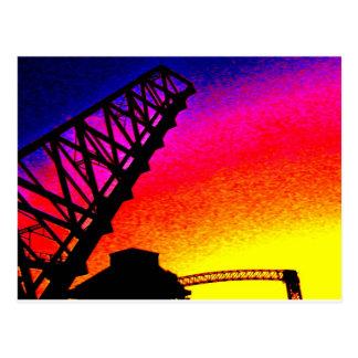 Bridge against Rainbow Sunset Postcard