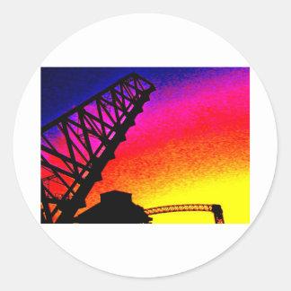 Bridge against Rainbow Sunset Round Sticker