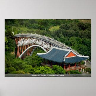 Bridge and Korean house in Chesu Island Poster