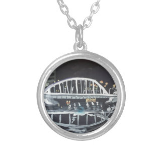 bridge at night silver plated necklace
