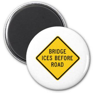 Bridge Ice Warning Highway Sign Magnet