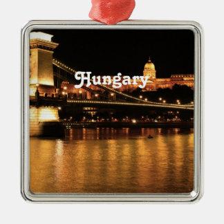 Bridge in Hungary Silver-Colored Square Ornament