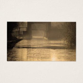 Bridge in morning sun and mist business card