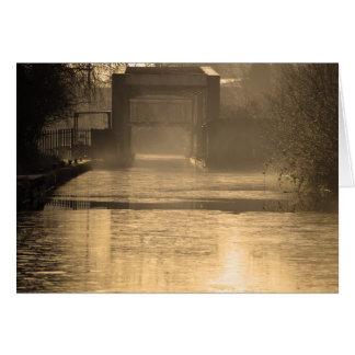 Bridge in morning sun and mist card