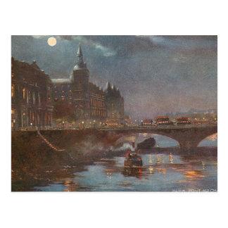 Bridge in Paris at Night Postcard