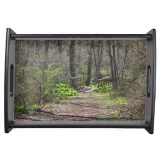 Bridge in the Springtime Woods Serving Tray