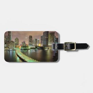 Bridge leads across waterway to downtown Miami Bag Tag