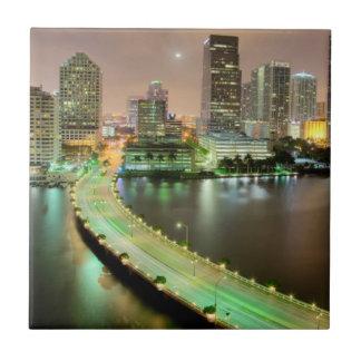 Bridge leads across waterway to downtown Miami Ceramic Tiles