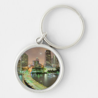 Bridge leads across waterway to downtown Miami Silver-Colored Round Keychain