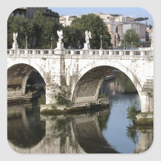 Bridge of Castel st Angelo, Rome, Italy Square Sticker