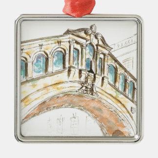 Bridge of Sighs watercolour drawing Metal Ornament