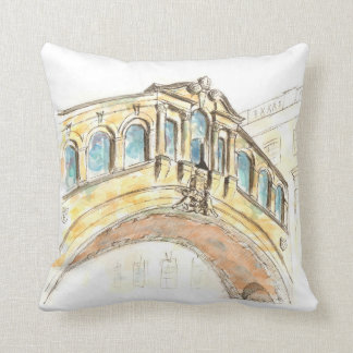 Bridge of Sighs watercolour drawing Throw Pillow
