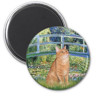 Bridge - Orange Tabby SH cat 46 2 Inch Round Magnet