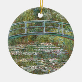 Bridge over a Pond of Water Lilies Ceramic Ornament