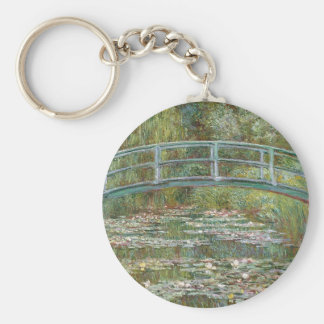 Bridge over a Pond of Water Lilies Keychain