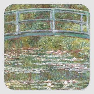 Bridge over a Pond of Water Lilies Square Sticker