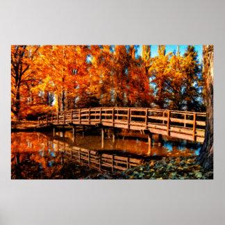 Bridge over autumn water poster
